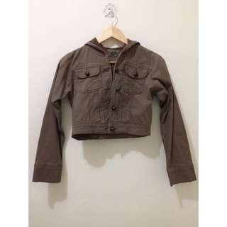Brown Cropped Hoodie Jacket