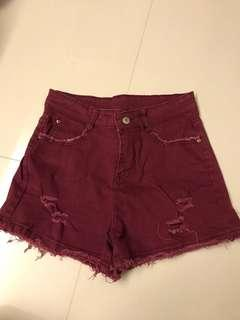 Maroon Denim Shorts
