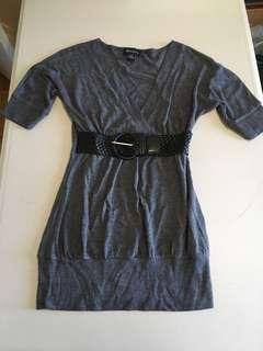 Seductions Grey V Neck Shirt with Black Belt Size XS