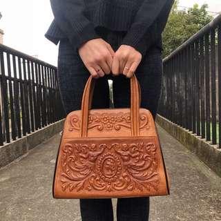 古著 Vintage 70's 牛皮古董包 手工墨西哥 手提包 雕花 雕紋 墨西哥製