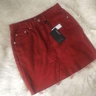 Glassons red denim skirt size 6