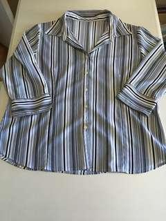 Black & White Striped Blouse Size Large