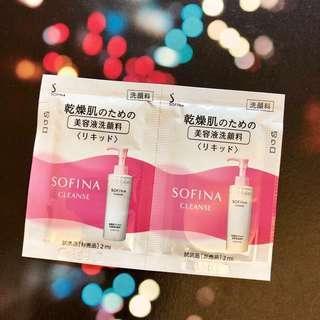 HK$5/ 2包/ 4ml Sofina Cleanse Liquid Facial Wash 高保濕精華潔面液 2ml x 2 試用裝 sample