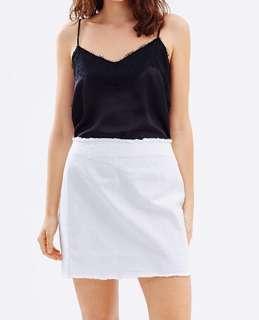 "White raw hem ""denim"" skirt"