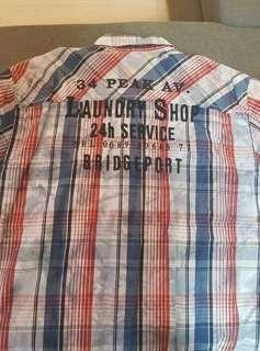 Polo checkered washed/bleached finished