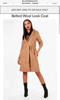 NEW boohoo belted coat (faux wool)