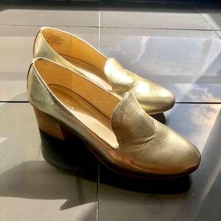 Leather Gold Loafers • EU 36 AU 5