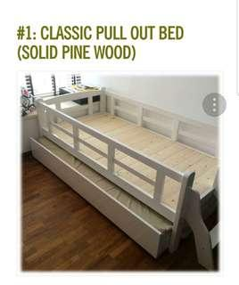 Kids Single Pull Out Bed in Solid Pine Wood