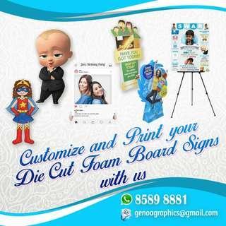 Customize Backdrop Banner,  Milestone Board,  Flyer, Sticker,Name card, Standee and more