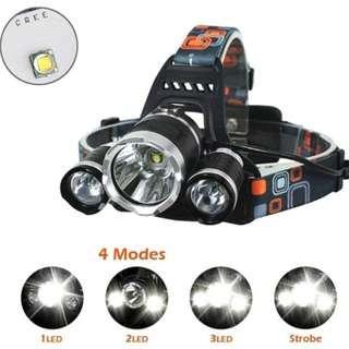 ⚡  380含運費貨到付款 ⚡.強白光.LED三眼頭戴燈