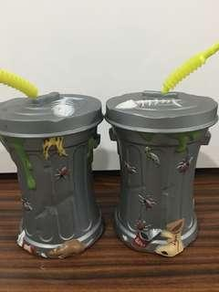 Pair of Oscar the grouch inspired sippy cup