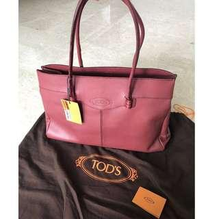 *Reduced Price* Brand New Italian Tod's Mocassino Tote in Burgundy Leather