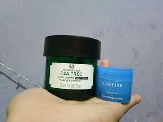 Reprice! The Body Shop Tea Tree Skin Clearing Night Mask + Laneige Water Sleeping Mask
