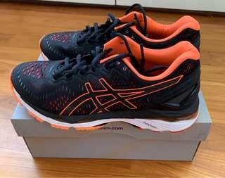 US 7. Men's ASICS Gel Kayano 23 black orange trainers