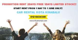 CAR RENTAL RENT 2DAYS FREE 1DAY MAY PROMOTION ONLY!!
