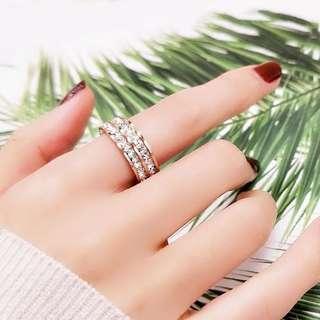 🚚 18k雙排鑽玫瑰金戒指 美版8號