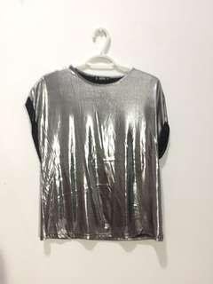 Silver, metallic shirt with cuffed sleeves