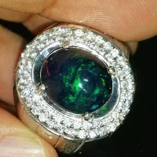 Natural Black Opal Ring. Silver. Rhodium Polished. Beautiful.