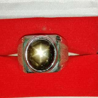 Natural Black Star Sapphire Silver Ring. Size 10.