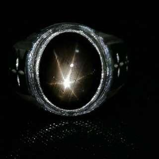 Natural Black Star Sapphire. Ring Size 10.