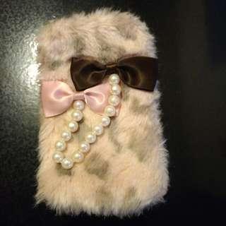 粉紅豹紋毛毛 電話袋