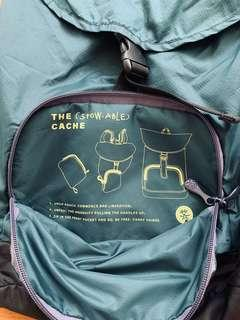 Crumpler packable backpack. Stowable cache. Teal color