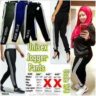 PLUS SIZE STRETCHABLE UNISEX STRIPES JOGGER PANTS - instock limited