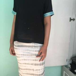 bodycon skirt yie dye