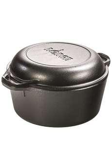 """Lodge cast iron double Dutch oven 5qt with 10.25"""" skillet cover"""