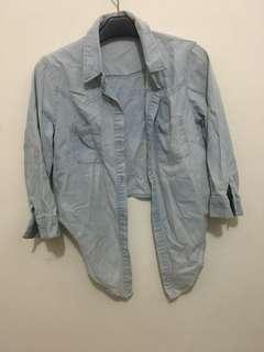 Chambray crop shirt