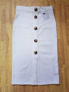 🚚 White Button Down Skirt (Pencil-cut)