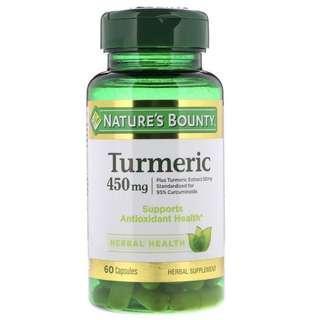 [現貨] Nature's Bounty, Turmeric 薑黃素, 450 mg, 60 Capsules