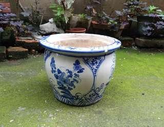手繪青花紋陶瓷花器(盆栽)—古物舊貨、陶藝收藏