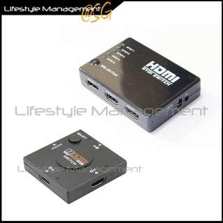 HDMI 5/3 In to HDMI 1 Out Port Switch Hub Switcher Adapter Box Selector Digital HDTV 1080p (Not a Splitter)