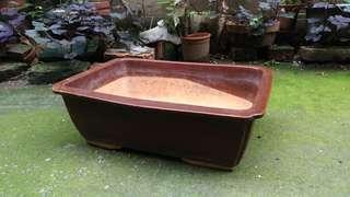 棕色長方形陶瓷盆栽花器(花盆)—古物舊貨、陶藝收藏