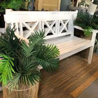 SALE! 35% OFF: Antique white 3 seat bench