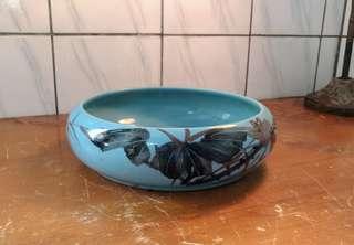蔚藍手繪花紋陶瓷水仙花盆—古物舊貨、早期陶藝花器收藏