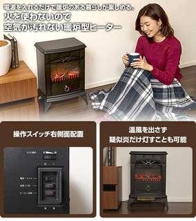 山善 YDH-SK10 壁爐式 電暖器 暖氣機 暖爐 2段溫度 3D擬真炭火