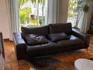 🚚 Domicil full genuine leather sofa brown