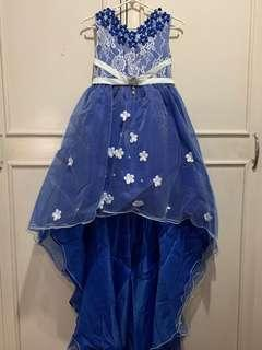 Girls semi gown (7-8 years old) lowered back assymetrical skirt