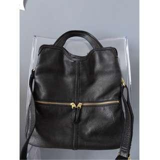 FOSSIL Black Leather ERIN Foldover Tote Crossbody Messenger Bag Purse ZB5462 EUC