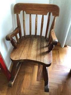 Teak children's rocking chair