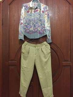 Satu set kemeja flower+celana bahan