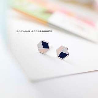韓國六角幾何耳環