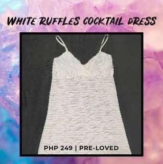 White Ruffles Cocktail Dress
