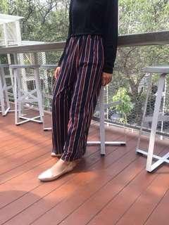 (NEW) Stripe Cullote Celana Kulot  Belang Belang Black & Red Hitam & Merah Celana Kulot Import Bangkok