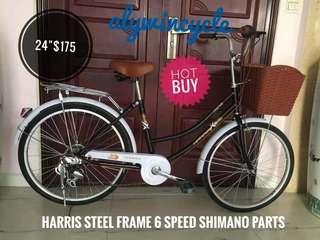 "24"" Harris steel frame city bike black"