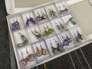 HK$10/1對 ~ 全新手功精細景泰藍耳環 New Cloisonne Earring