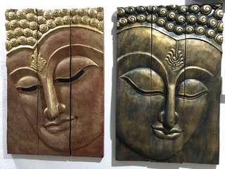 🚚 02 numbers of Hand carved Buddha wall hanging