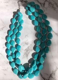 Teal/aqua/turquoise stone bead necklace